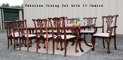 FABULOUS 13pc Chippendale Solid Mahogany Dining Room Set Table 10 CHAIRS!