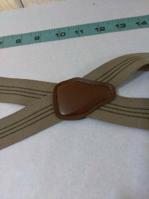 Vintage Stripe Suspenders With Gold Tone Clip On~Men's One Size