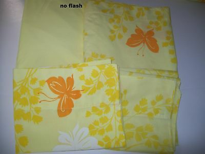 Full Double Bed Springmaid Butterfly Flat Sheet Yellow Fitted 2 Pillowcase Lot