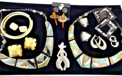 Vintage Estate Statement Jewelry Lot Mix Necklace Bracelet Ear Brooch Signed