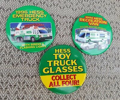 Hess Truck Pin Back Buttons 1996, 98, Toy Truck Glasses Employee Advertisement