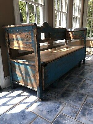 Antique Norwegian Scandinavia Bench w Storage - Awesome Painting