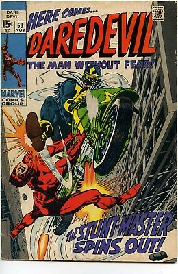 1969 Daredevil #58 Marvel Comics VG- The Stunt Master Spins Out