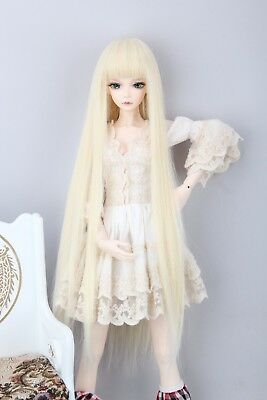 """BJD Doll Hair Wig 8-9""""1/3 SD DZ DOD LUTS Blonde Long Straight Wig With Neat Bang"""