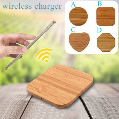 Qi Wireless Wood Bamboo Charger Pad Mat For Samsung S7 iPhone 7 8 X/10 LOT XB