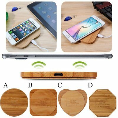 Bamboo Wood Pad Wireless Charger Charging Mat Fr iPhone X 8 Plus Note 8 S7 LOT X