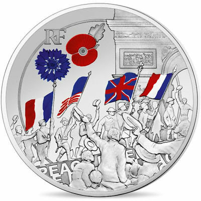 2018 France € 10 Euro Silver Proof Coin Great War WWI Jubilation Color 1,918 pcs
