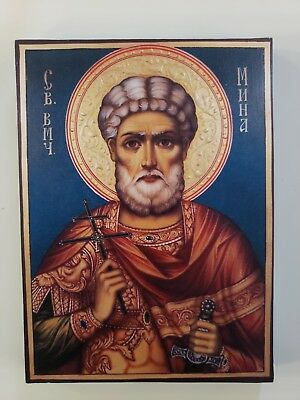 Saint Menas of Egypt, orthodox icon, size 7, 10/16 x 10, 6/16 inches