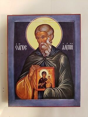 Saint Alypius of the Caves, orthodox icon, Size 7, 8/16 x 9, 9/16 inches