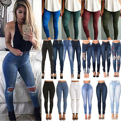 Womens Denim Skinny Ripped Pants High Waisted Stretch Jeans Slim Pencil Trousers
