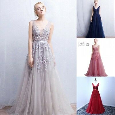 Long Evening Formal Party Dress Prom Ball Gown Bridesmaid Applique Backless New