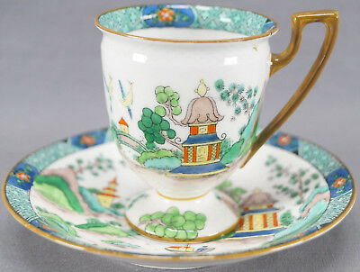 Crown Staffordshire 5356 Ye Olde Willow Footed Coffee Cup & Saucer C 1906 - 1930