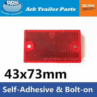 1 Red Reflector 43x73mm Self Adhesive and Bolt on for Trailer Caravan Camper