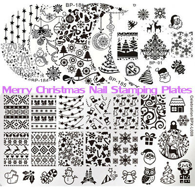 BORN PRETTY Nail Art Stamping Plates Christmas Manicure Image Templates Stencil