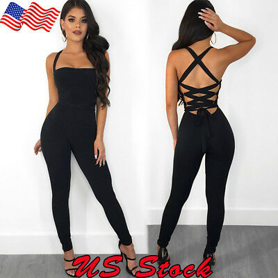 US Women Backless Casual Bodycon Lace Up Jumpsuit Romper Clubwear Party Playsuit