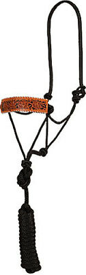Tooled Leather Bronc Style Rope Halter- Black