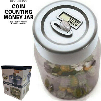Aussie Coin Counting Money Box Jar Digital LCD Display - Suits Australian Coins