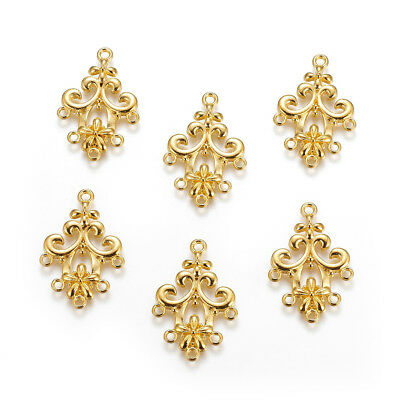 20pcs Alloy Filigree Flower Chandeliers 1/5 Loop Connector Findings Gold 35x24mm