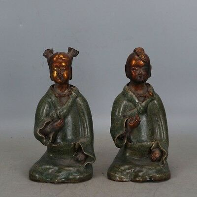 Beautiful Chinese Song Dynasty longquan kilns Porcelain golden boy and jade girl