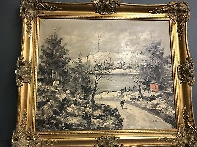 Vintage Antique Style OIL ON CANVAS PICTURE - ORNATE GILT FRAME Signed By Artist