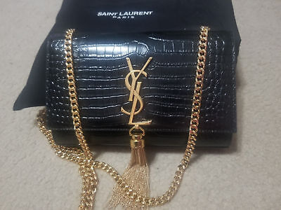18b17ed1a1 AUTHENTIC YSL SAINT Laurent Small Kate Tassel Chain Bag Black Croc Emossed  -  489.80