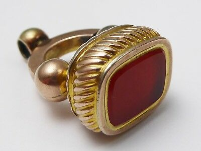 Antique Victorian Yellow & Rose Rolled Gold Carnelian Agate Fob