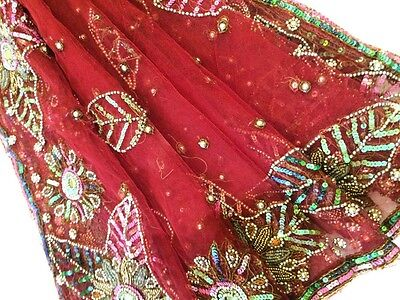 Vintage Heavy Dupatta Antique Women Bridal Long Scarf Embroidered Stole HD1015