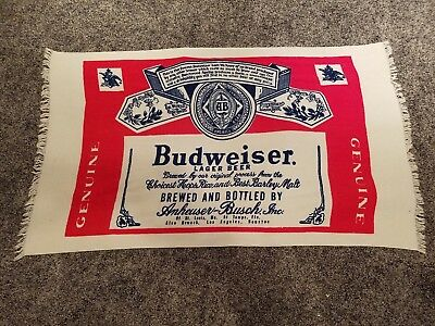 "Budweiser Beer Lager Beach Towel Vintage 1960's 58"" x 34"" VG Condition Man Cave"
