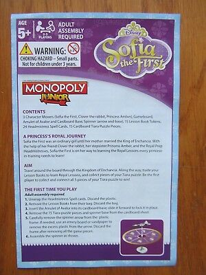 Junior Monopoly Disney Sofia The First Tv Spare Replacement Rules