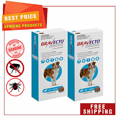 BRAVECTO Blue for dogs 20 to 40 Kg Flea and Tick Prevention 2 Chews