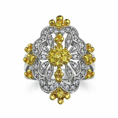 Filigree Canary Yellow CZ Full Finger Armor Ring Silver Plated Brass