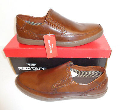 RED TAPE Kensey Mens Leather Tan Slip On Casual Formal Shoes New Sizes UK 7-11