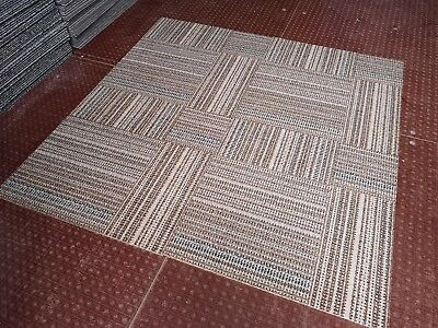 1000 x BROWN STRIPED NEW MILLIKEN CARPET TILES WITH SPONGY BACKING £1.50 EACH