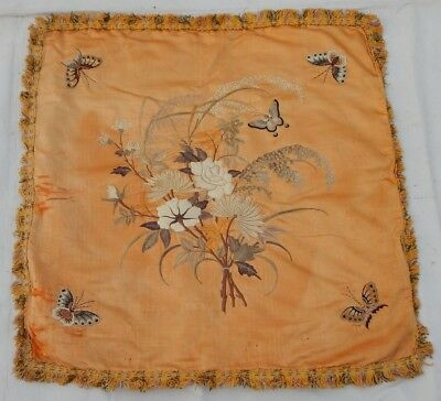 Antique Chinese 19thC Hand Embroidery Wall Hanging Panel/Cushion 62X62cm