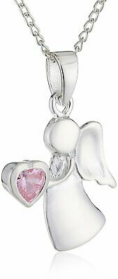Sterling Silver & Tourmaline CZ Birthstone Angel Necklace 14 - 32 Inches