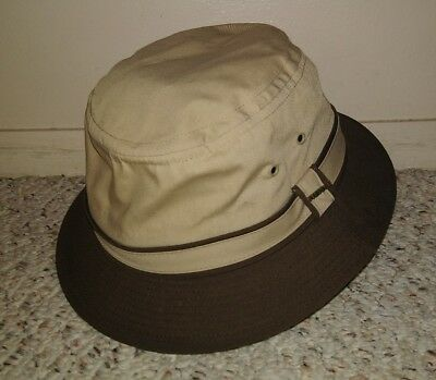 d39a34e901c61 STETSON MEN S FAIRWAY Bucket Skimmer Hat Cap Khaki Brown Size Medium ...
