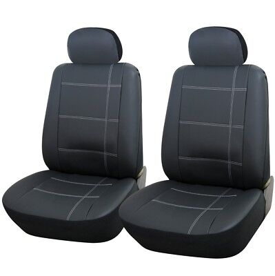 GREY FAUX LEATHER FRONT SEAT COVERS 1+1 for VAUXHALL AGILA (09-11)