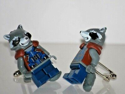 Handmade LEGO® Raccoon Marvel Cufflinks, Silver Plated Toggles, Gift Boxed!