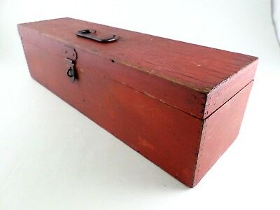 Primitive Antique Old Red Painted Hand Made Wood Tool Box w/ Handle & Latch