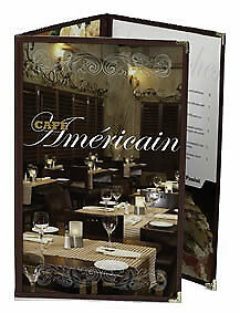 MENU COVERS 25 BLACK 8.5X11 Six View Triple Panel Foldout Double Stitched