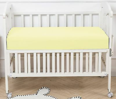"PHF Crib Fitted Sheets 100% Cotton Deep Pocket 52""X28""X8"" Pack of 4 Yellow"