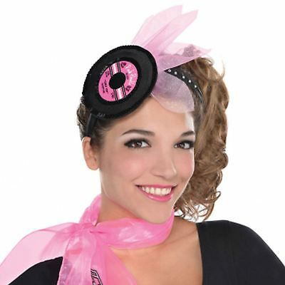 Ladies Girls Pink 50s Classic Retro Record Music Headband Fancy Dress Accessory