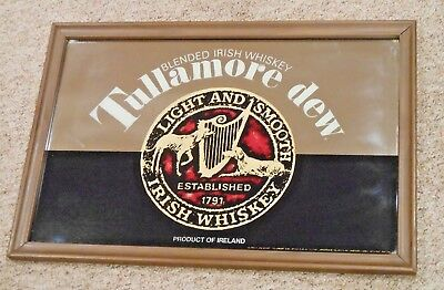 Vintage Tullamore Dew Blended Irish Whiskey Bar Wall Mirror- Ireland