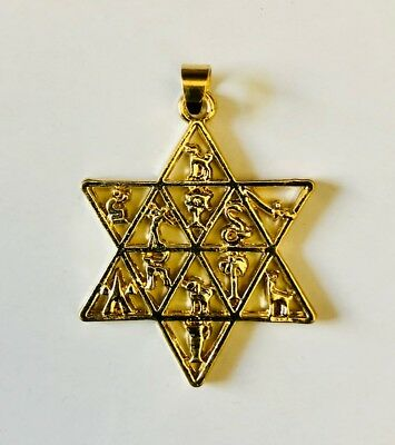 Jewish 12 Tribes of Israel emblems necklace pendant Gold plated FREE SHIPPING
