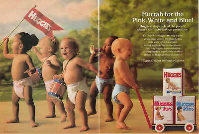 1990 Huggies Super Trim Diapers For Him For Her Blue Pink 2Page Vintage Print Ad