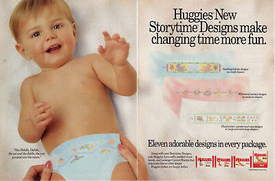 1991 Huggies Super Trim Diapers Storytime For Him For Her 2Page Vintage Print Ad