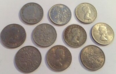 10 UK SixPence 6 Six Pence Coins British English Pre Decimal Coins Wedding