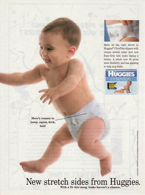 1995 Huggies Ultra Trim Diapers Stretch Sides babies 1 Page Vintage Print Ad #2