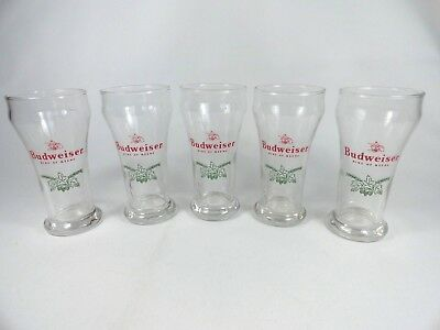 5 Budweiser King of Beers Pilsner Pub Style Sham Beer Glass EagleLogo Green Hops