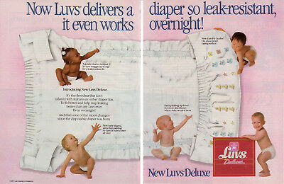 1987 Luvs Deluxe Diapers Leak Resistant Bedwetting 2 Page Vintage Print Ad